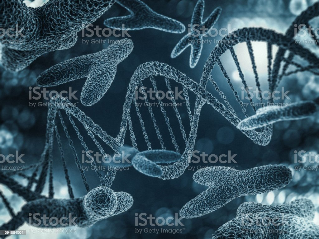 Chromosomes, gene mutation, genetic code. 3D rendering stock photo
