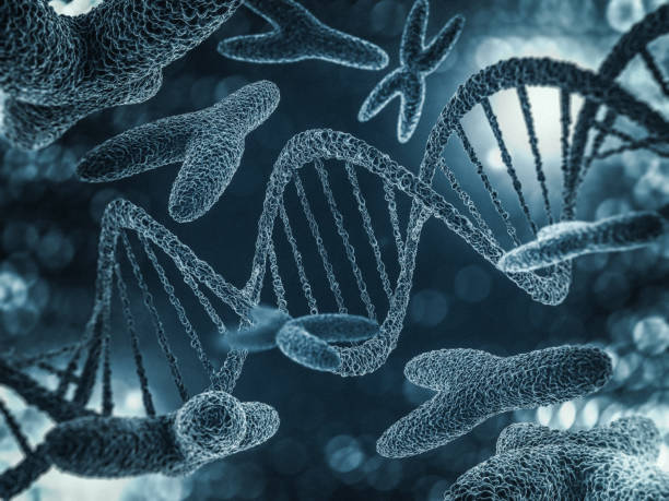 chromosomen, genmutatie, genetische code. 3d-rendering - chromosoom stockfoto's en -beelden
