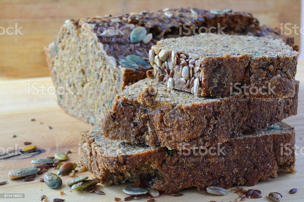 Chrono, organic, unleavened bread with various seeds stock photo