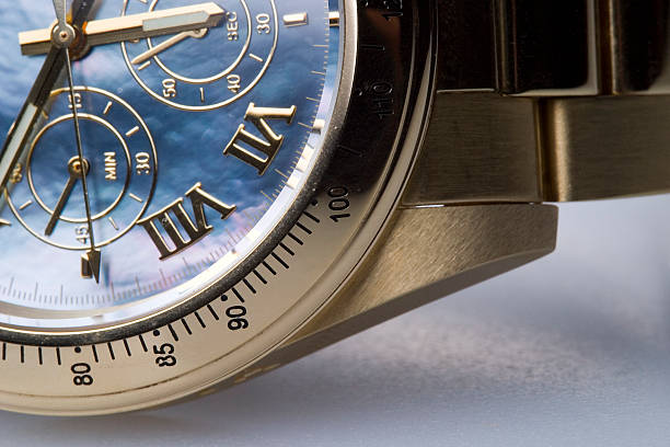 Chronograph being represented with clock in Roman numerals stock photo