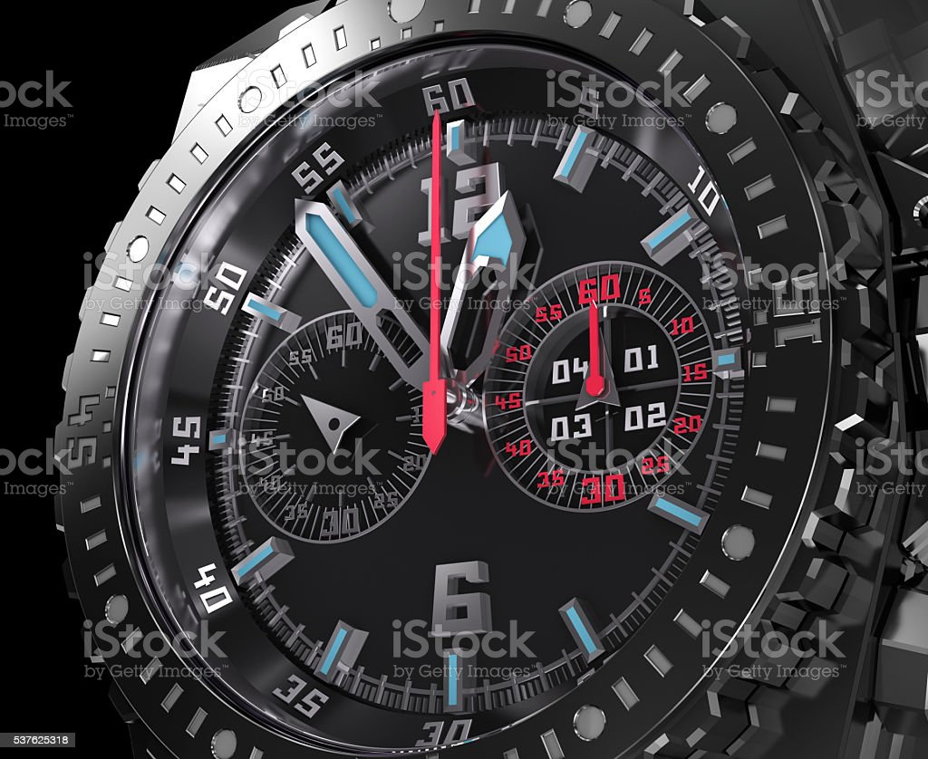 Chronograph dial, wristwatch macro. stock photo