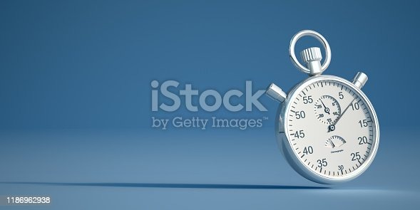3D rendering of a retro silver stopwatch on a blue background