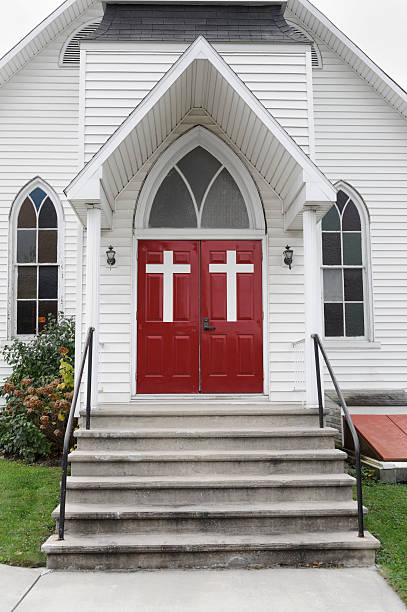 Chruch Doors with White Crosses, Steps to Entrance stock photo
