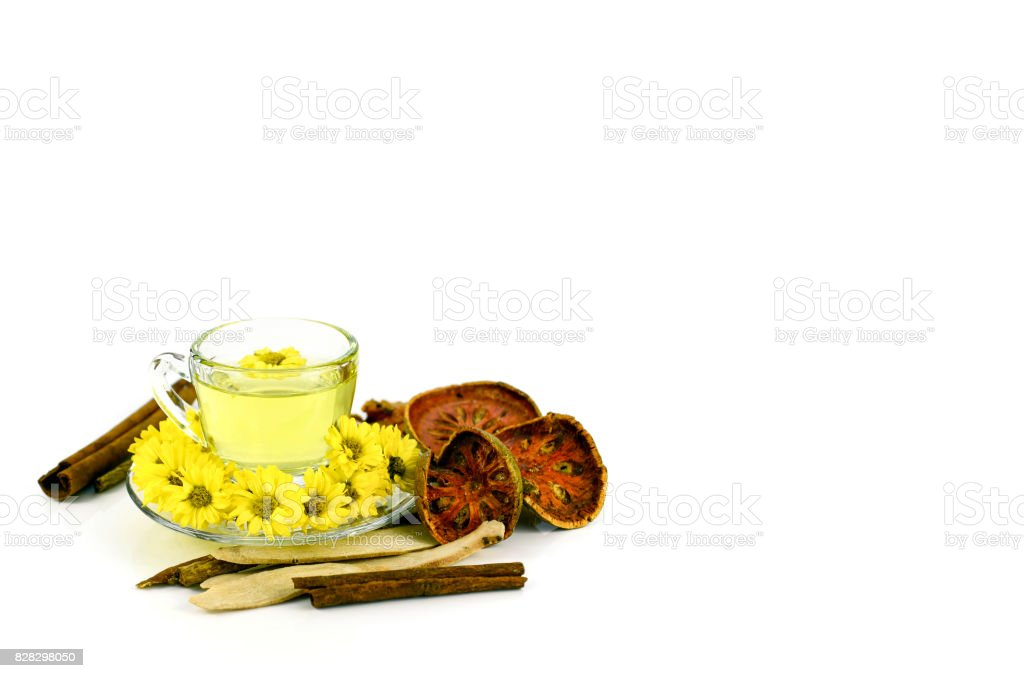 Chrysanthemum tea from organic plantation field. stock photo