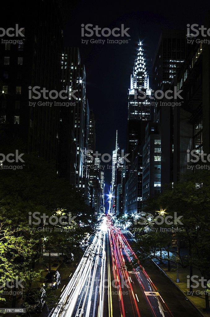 Chrysler Building 42nd street Lighttrails royalty-free stock photo