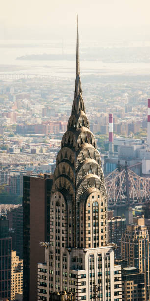 chrysler building aerial view  new york manhattan photo stock - chrysler building stock photos and pictures