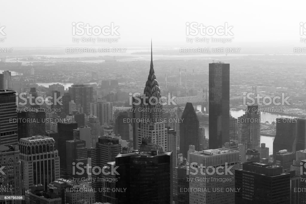 Chrysler Building And City Skyline Aerial View In Black White The Morning Haze