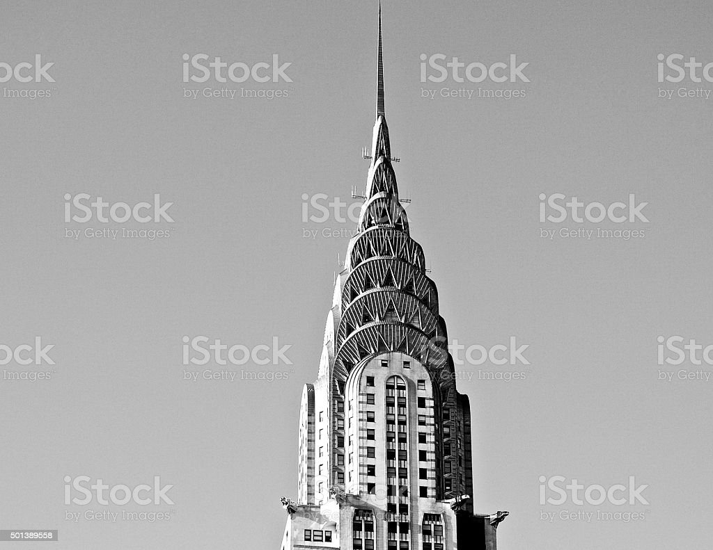 Chrysler Building Crown Black and White stock photo