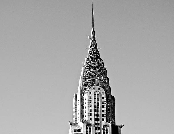chrysler building crown black and white - chrysler building stock photos and pictures