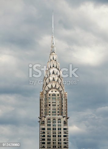 Crysler Building, Cloudy sky background, New York City