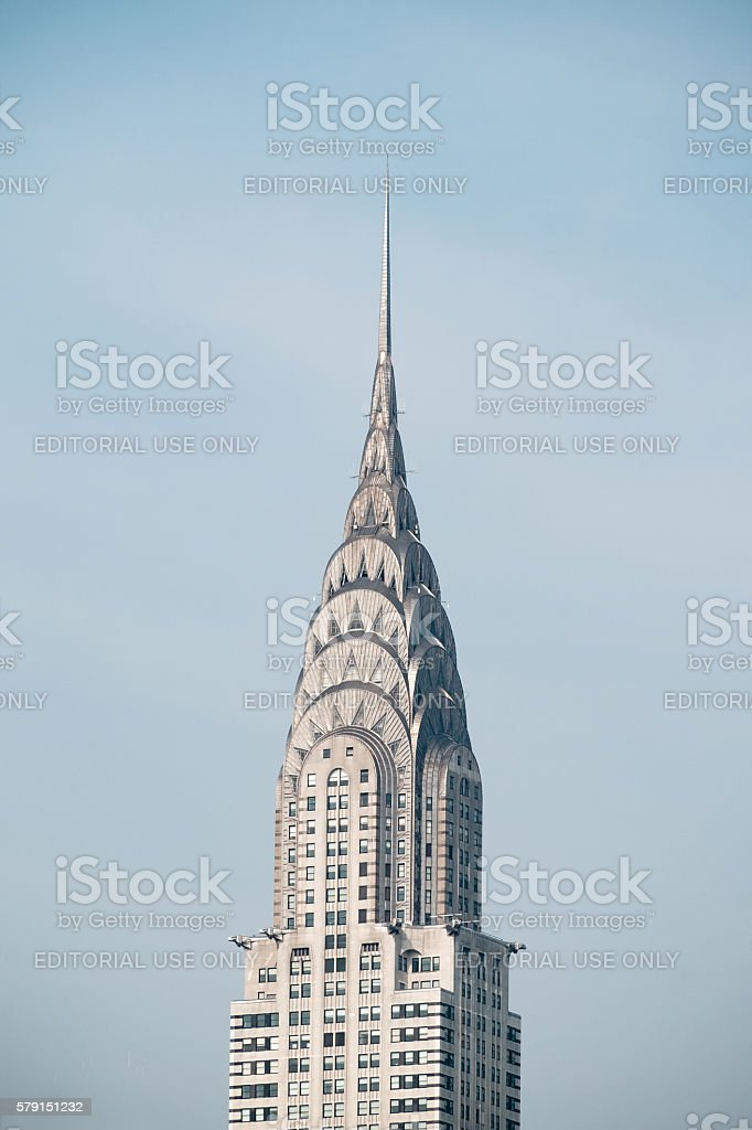 Chrysler Building silver metal spire stock photo