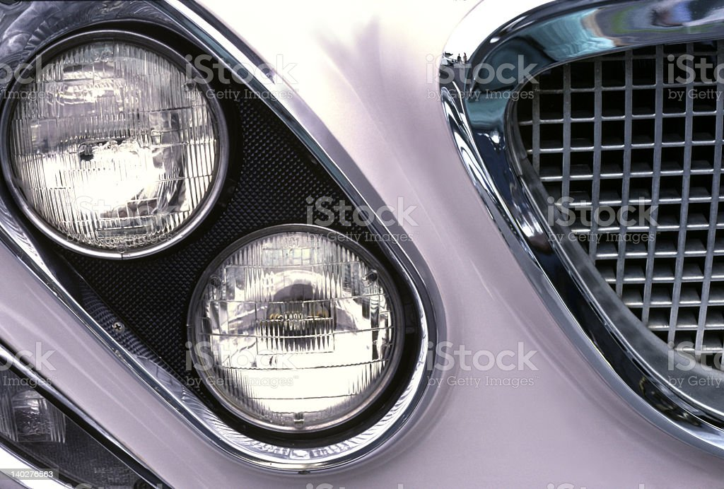 Chrysler Newport 1962 Detail; Angled Headlights and Grille stock photo
