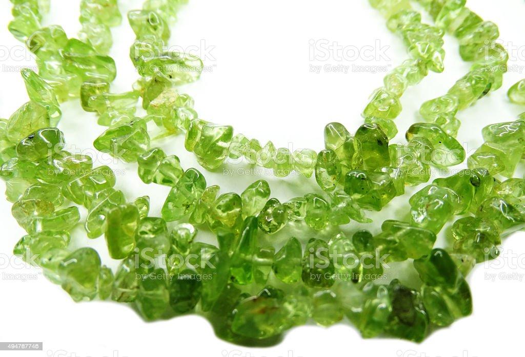chrysolite gemstone beads necklace jewelery stock photo