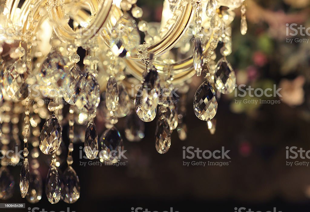 Chrystal chandelier close-up stock photo