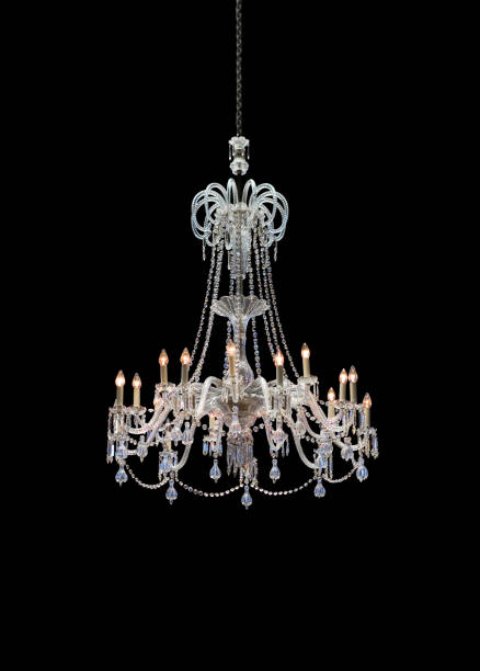 chrystal chandelier isolated on black background - kroonluchter stockfoto's en -beelden