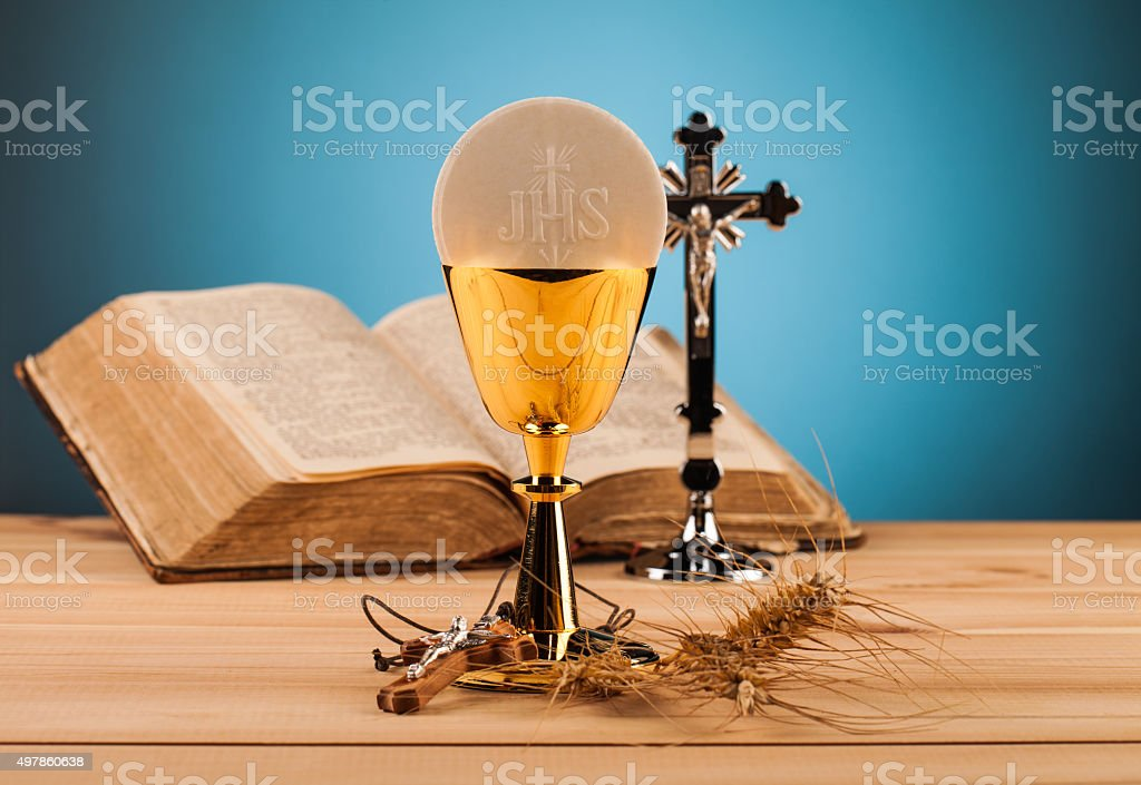 Chrystian holy communion stock photo