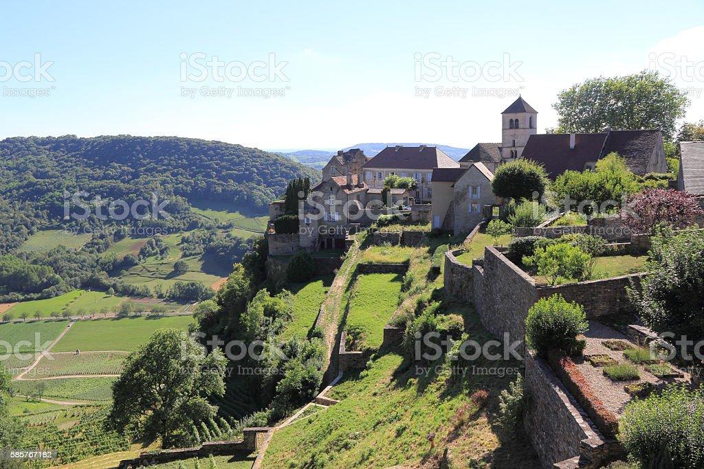 Château-Chalon, village of Jura stock photo