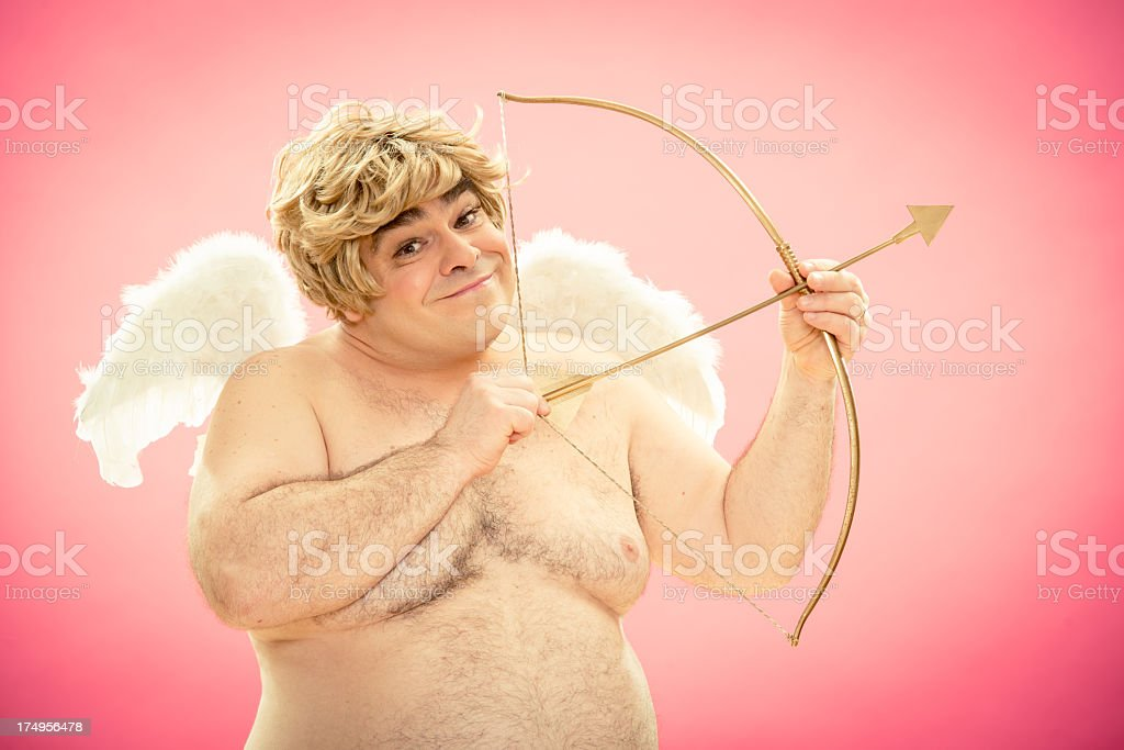 A chubby naked man dressed as Cupid stock photo