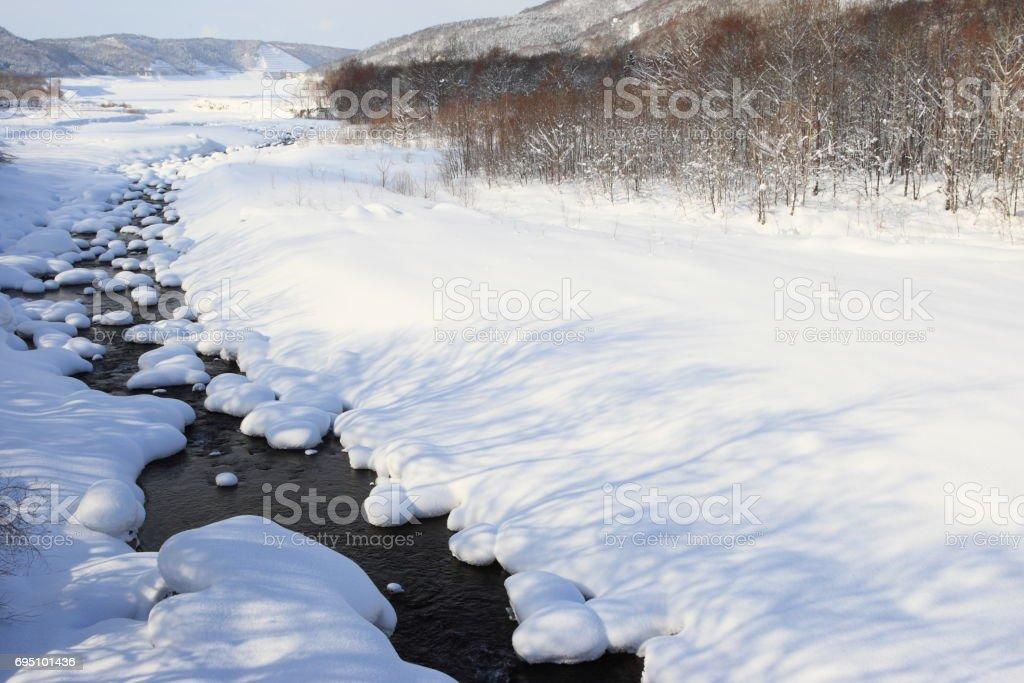 Chubetsu river in snow stock photo