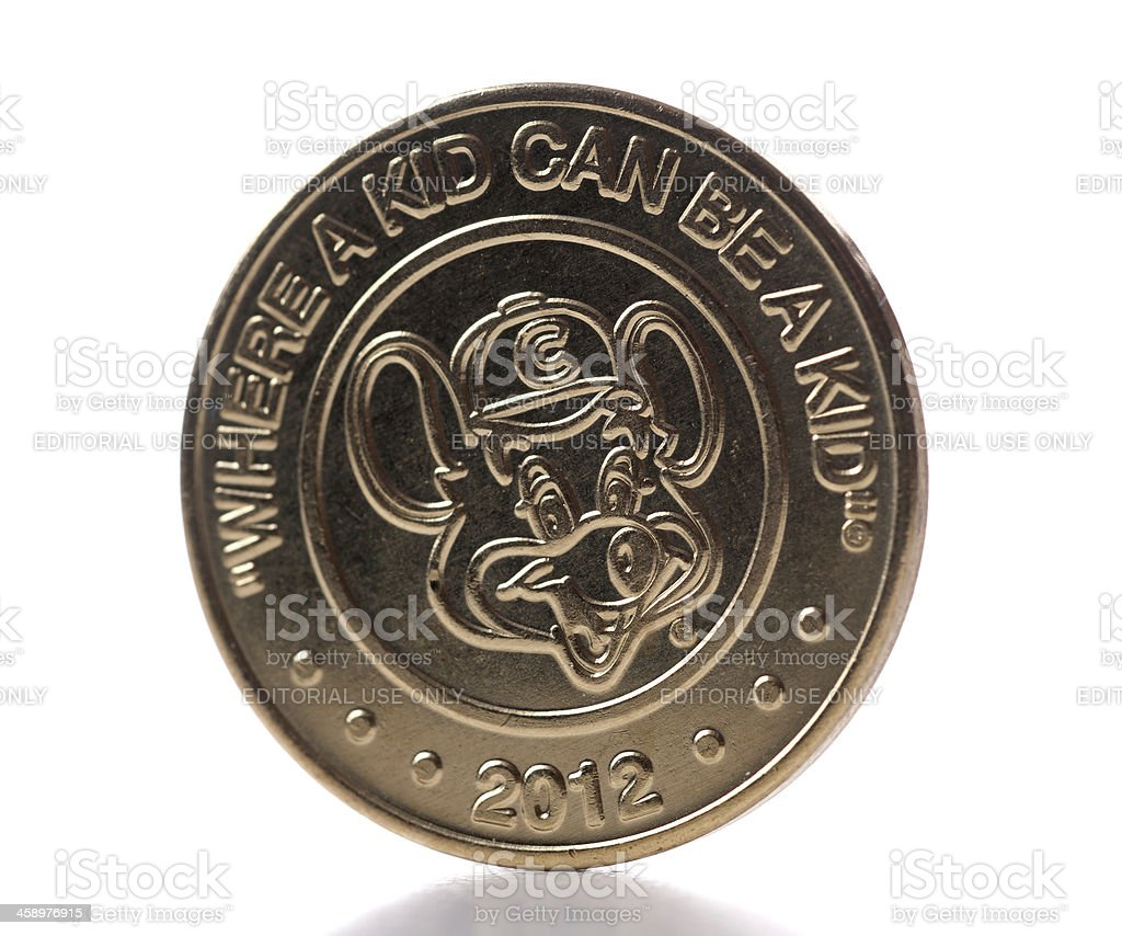 Chuck E Cheese coin or token stock photo