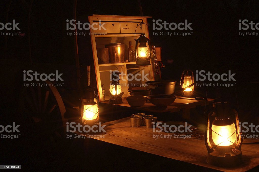 Chuck Wagon at Night stock photo
