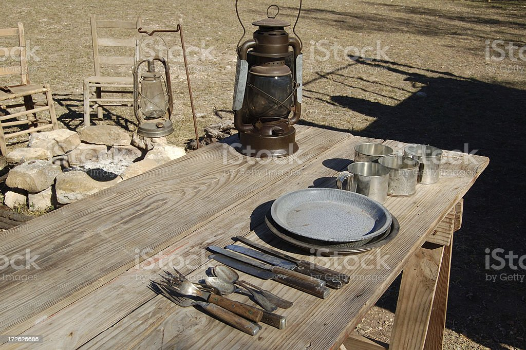 Chuck Wagon Table stock photo