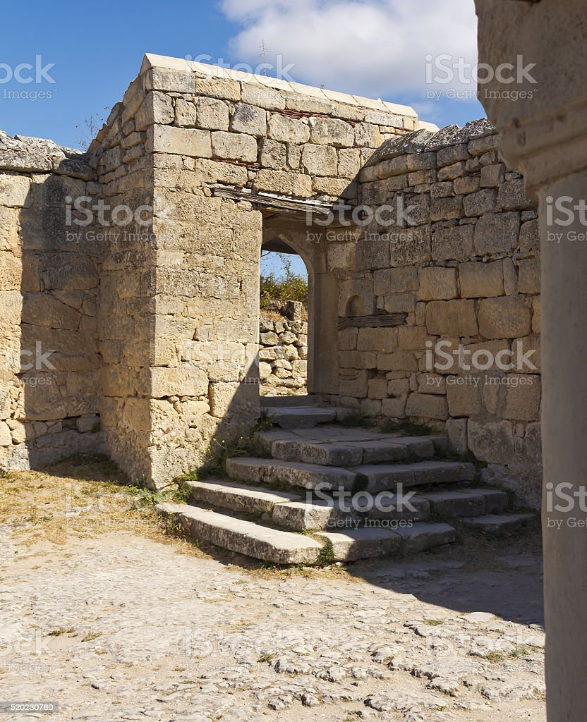 Chufut-Kale is the medieval town-fortress, the cave in the Crimea. stock photo