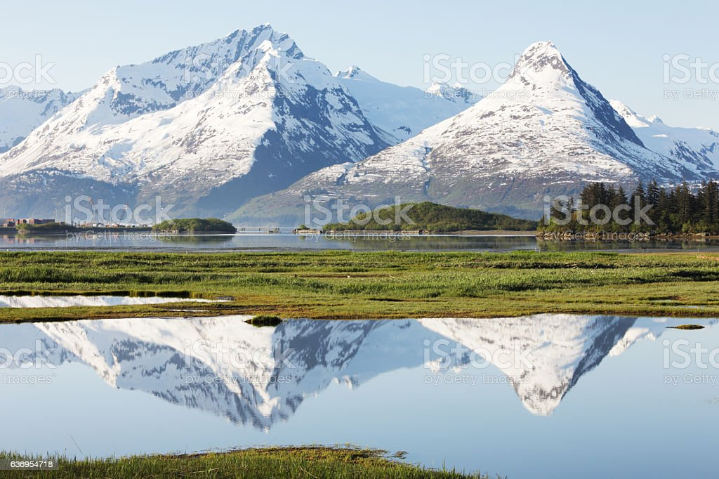 Chugach Mountains Valdez Alaska Prince William Sound stock photo