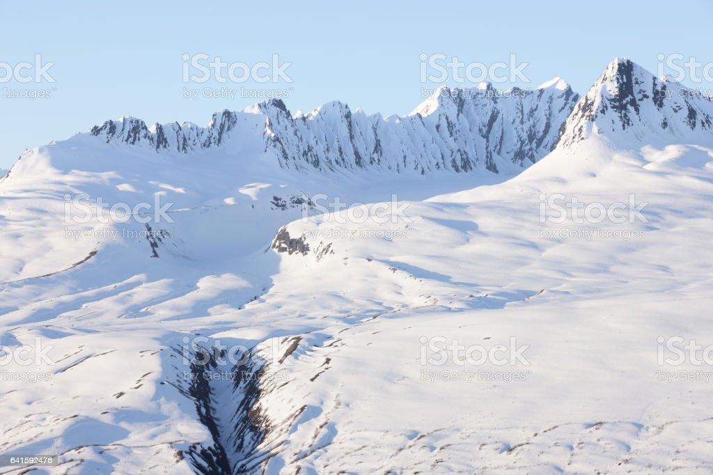 Chugach Wrangell-St. Elias Mountain Range Glacier Landscape stock photo