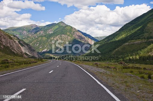 Chuisky tract, Mountain Altai road, Russian landscape