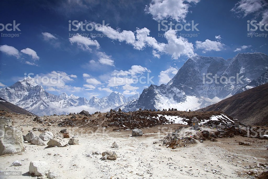 Chukpilhara Sherpa Memorial, Himalayas royalty-free stock photo