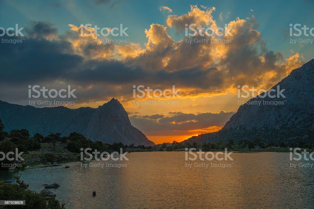 Chukurak lake at sunset stock photo