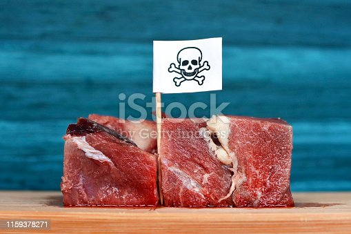 istock Chunks of red raw meat on wooden plate with flagg with poisonous skull sign, concept for meat contaminated with bacterium, germs, antibiotics and other residue possibly harmful to human health 1159378271