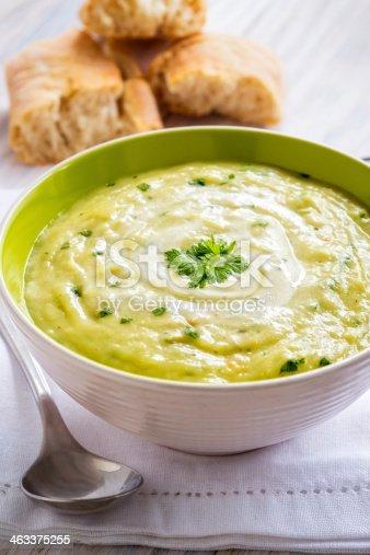 A bowl of thick potato and leek soup