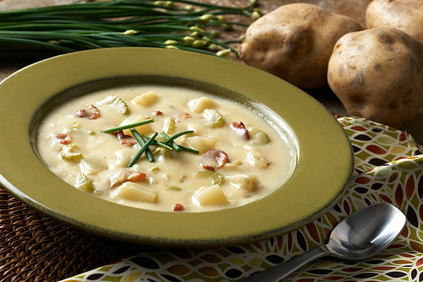 """Chunky Potato Bacon Soup """"Bowl of chunky potato soup prepared with idaho potatoes, bacon, celery, chives in a cream base."""" burwellphotography stock pictures, royalty-free photos & images"""