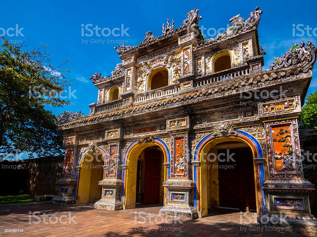 Chuong Duc Gate in the Imperial City in Hue, Vietnam stock photo
