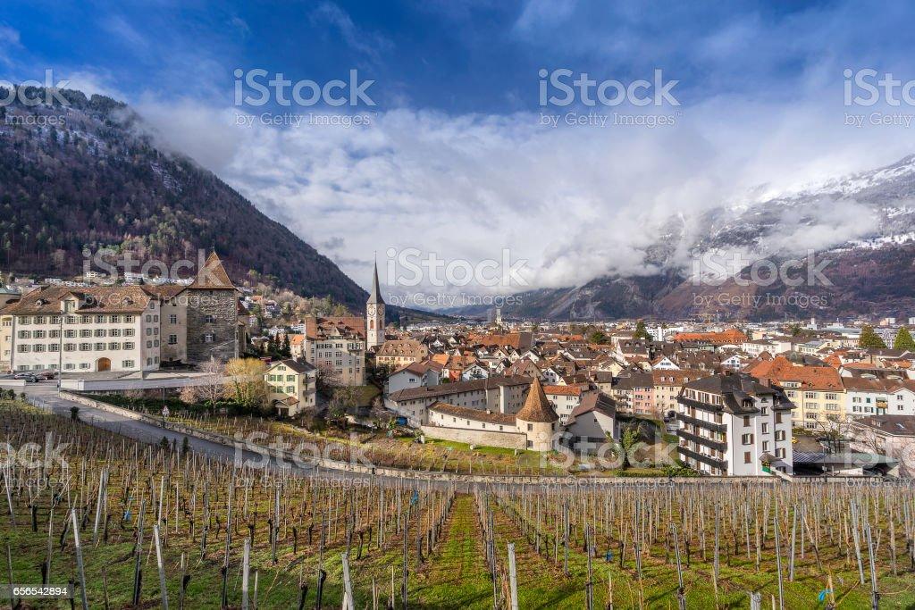 Chur in south east Switzerland stock photo