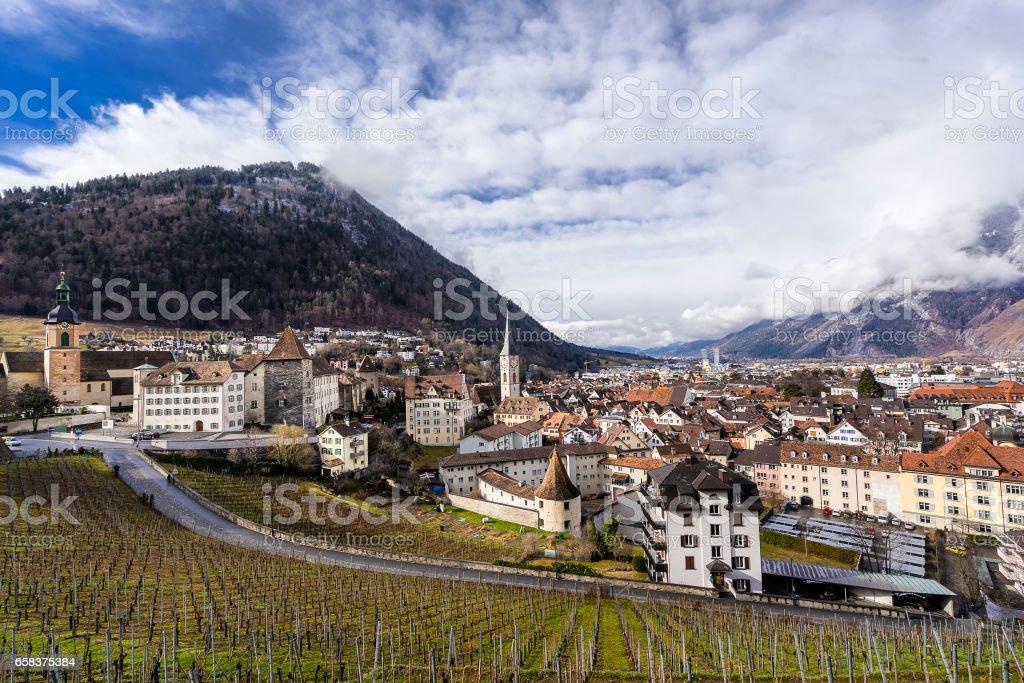 Chur in the Graubunden canton stock photo
