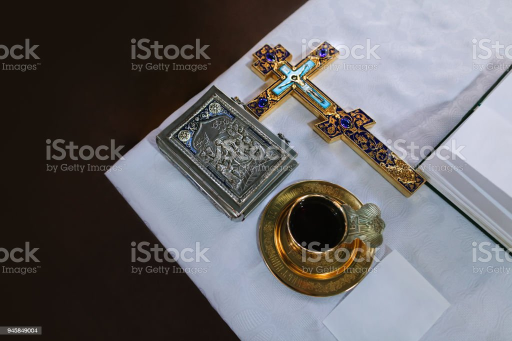 church accessories and other necessary items stock photo