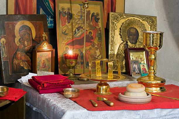 kirche accessoires - russisch orthodoxe kirche stock-fotos und bilder