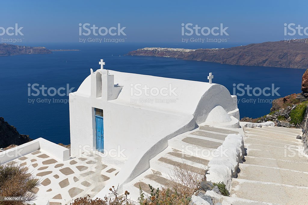Church Agios Ioannis Katiforis in Imerovigli stock photo