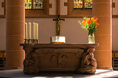 Church Altar Cross Bible Plants Close Decoration Religious Catholic
