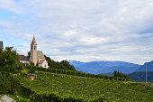 Eine Kirche und ein Weinberg in Südtirol