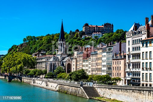 Church of Eglise St. Georges on the banks of the Saone in Lyon.