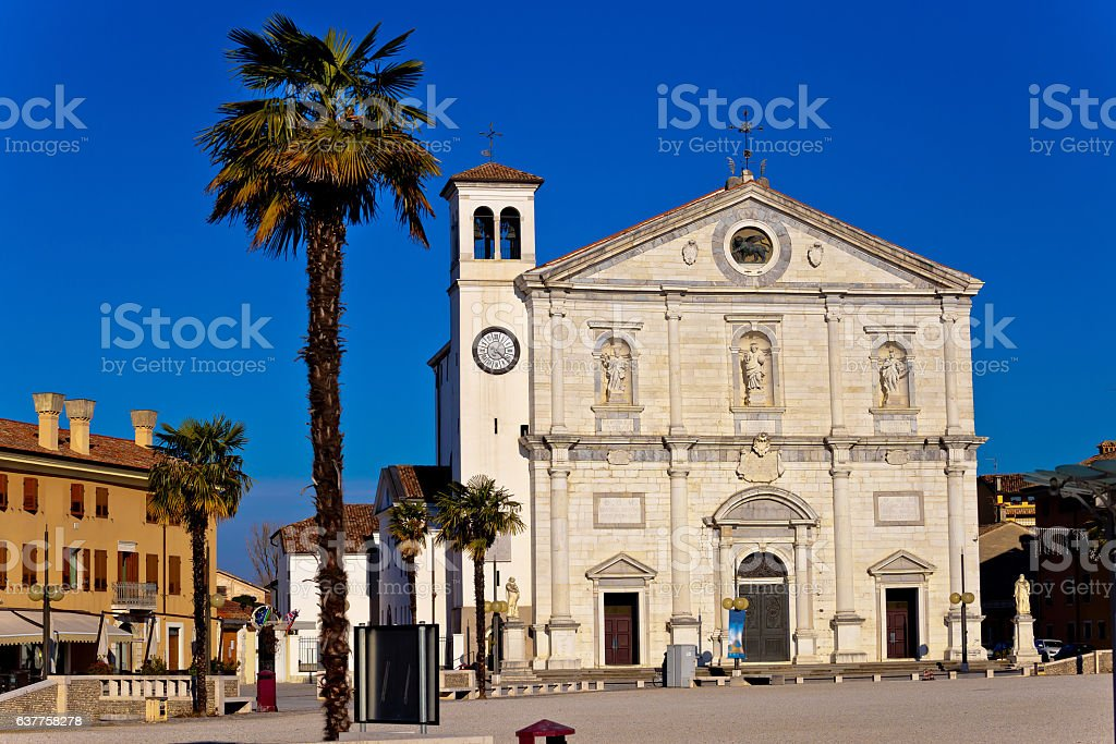 Church and central square in Palmanova stock photo
