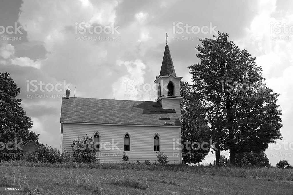 Church and Clouds stock photo