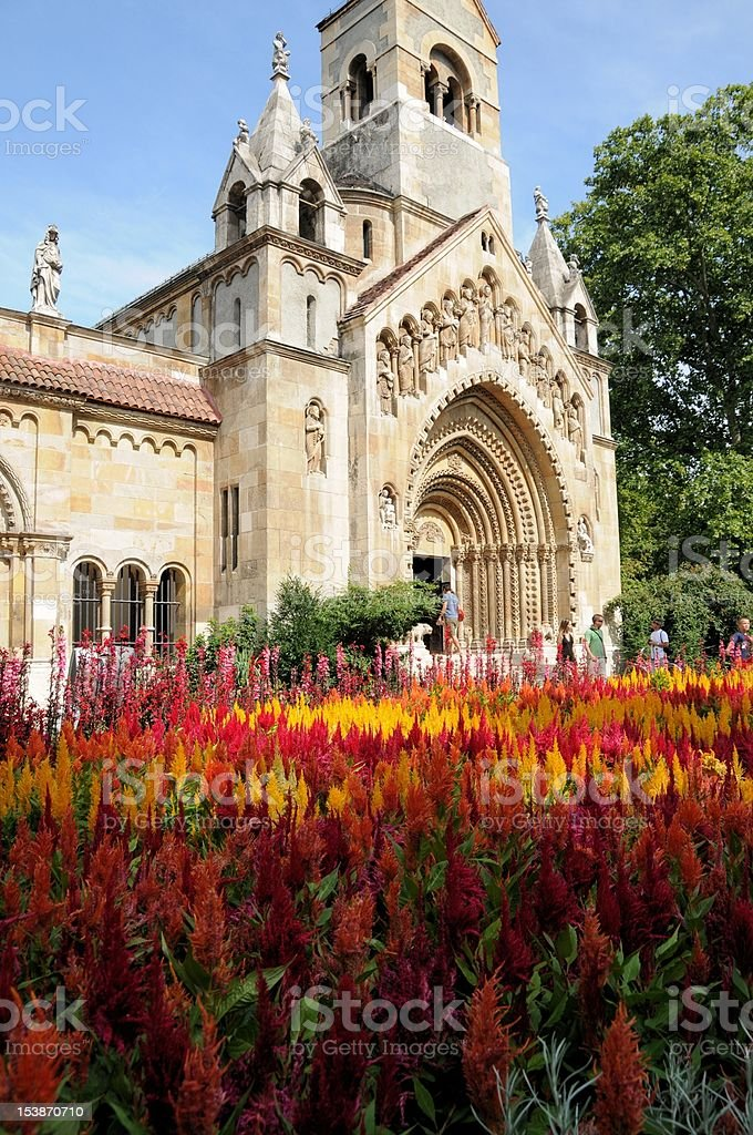 Church and flowers in Budapest royalty-free stock photo