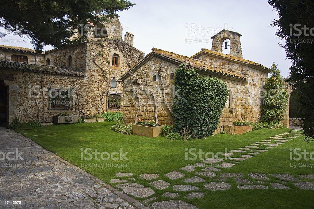 Church and garden stock photo