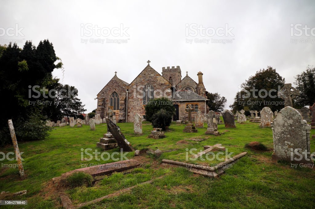 Church and graves stock photo