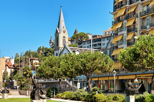 Church and Luxury hotel at Geneva Lake Riviera in Montreux